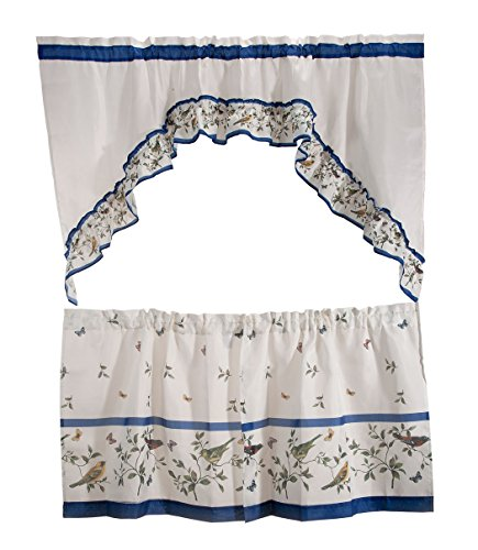 Naturally Home Love Birds Royal Kitchen and Dining Curtain Tier and Swag Set, 57 by 24-Inches