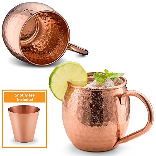 Price comparison product image Divlor Moscow Mule Copper Mugs - Hammered Finish with Solid Copper Handle,  Set of 2 with One Shot Glass,  16-Ounce