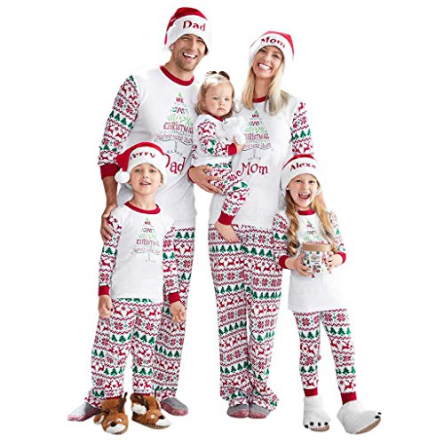 Christmas Family Pajamas Suit, SHOBDW Parent-Child Clothes Set Xmas Women Men Toddler Baby Kids Plaid Printed Romper Jumpsuit Long Sleeve Tops Pants Outfits Blouse Gifts(T-White,Kids/2-3 Years)