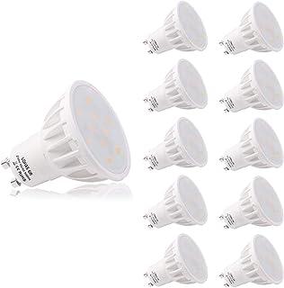 LOHAS® No-Regulable 6Watt GU10 LED Bombillas, Equivalente a 50Watt Lámpara Incandescente, Luz Blanca 5000K, 500lm, 120 ° ángulo de haz, Ultra Brillante LED Bombillas, Paquete de 10 Unidades