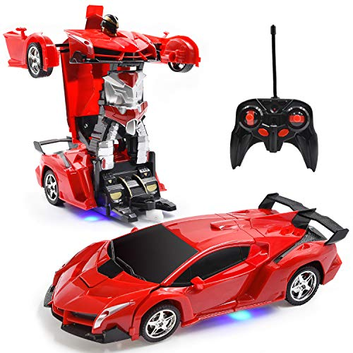 Jeestam RC Car for Kids, 1:18 Transform Car Robot, 2.4GHz Rechargeable One Button Transformation 360°Rotating Drifting Realistic Engine Sounds Remote Control Toy Car Gift for Kids and Adults