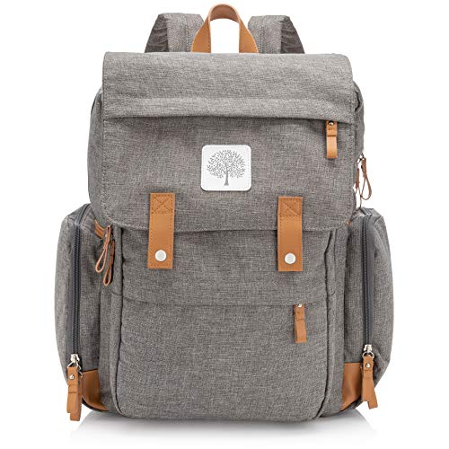Parker Baby Diaper Backpack - Large Diaper Bag with Insulated Pockets, Stroller Straps and Changing Pad -'Birch Bag' - Gray