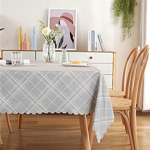 KUATAO Tovaglia Antimacchia Tavolo da caffè Tablecloth Tovaglia Adatto per Il Ristorante Contatore Decorazione del Partito All'Aperto Linee Grigie140X260Cm