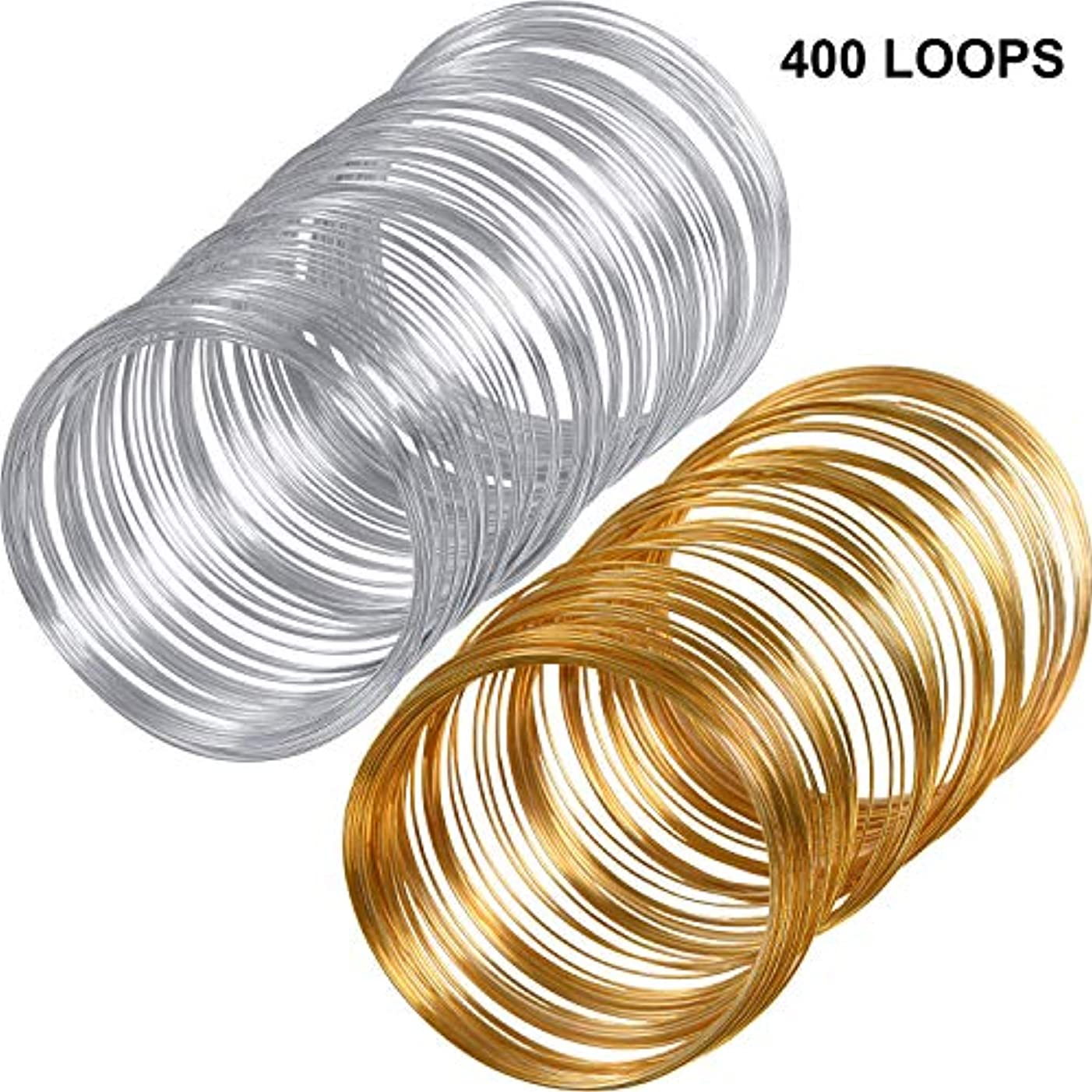 Loop Jewelry Wire Beading Wire Bracelet Memory Wire Cuff Bangle for Wire Wrap Jewelry DIY Making, About 400 Pieces (Gold-Sliver)