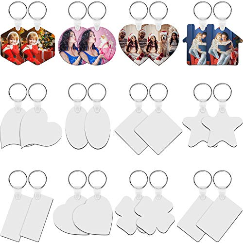 24 Pieces Sublimation Blank Keychains MDF Pictures Sublimation Keychains Blank Heat Transfer Ornaments Pendants Sublimation Keyrings Charms for DIY ID Name Tags