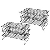 Kingrol 2 Pack 3-Tier Stackable Cooling Rack, Non-stick Wire Cake Rack for Pies, Cookies, ...