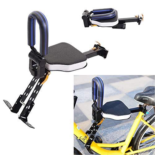 HNCS Seggiolino Anteriore per Mountain Bike per Bambini,Sedile Bicicletta per Bici Pieghevole Portabiciclette con Poggiapiedi Et Corrimano per Cruiser MTB Foldable City Shared Bikes