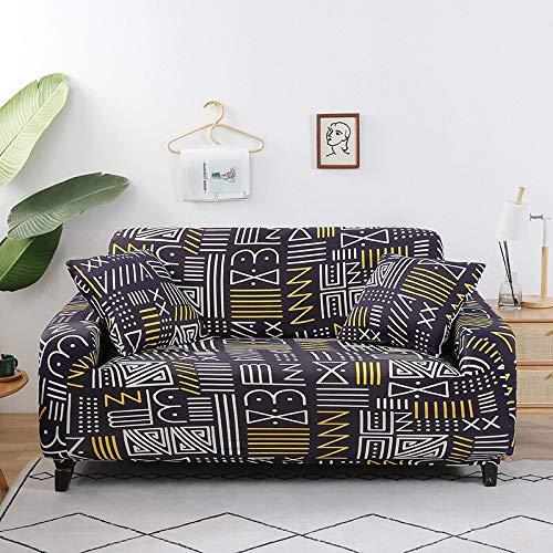 WXQY Funda de sofá con patrón geométrico Funda de sofá elástica Funda de sofá de Sala de Estar en Forma de L sofá de Esquina Toalla sillón Funda de sofá A17 3 plazas