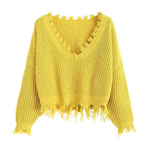 ZAFUL dames solide V-hals losse sweatshirt lange mouwen scheur jumper naar zijkant rijden gebreid crop top