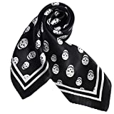 100% Small Square Pure Mulberry Silk Scarf -21'' x 21''- Breathable Lightweight Neckerchief -Digital Printed Headscarf (Black&White Skulls)