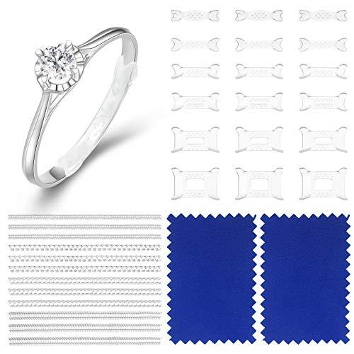 48 Stück Unsichtbare Ringgröße Einstelle Ring Guard Reduzierring Schutzabstandhalter für Lose Ringe Dünne Ringe mit 4 Stück Schmuckpoliertuch, 2 Stile, 10 Größen