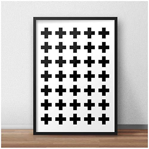 Canvas schilderij kunst aan de muur abstract kruis patroon plus teken poster zwart-wit foto's kinderkamer home decor 50x70 cm / 19.7