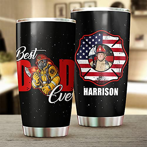 Personalized Photo Firefighter Dad Gift Best Dad Ever Coffee Travel Mug, Customize Name Insulated Stainless Steel Tumbler, Vacuum Insulated Travel Mug