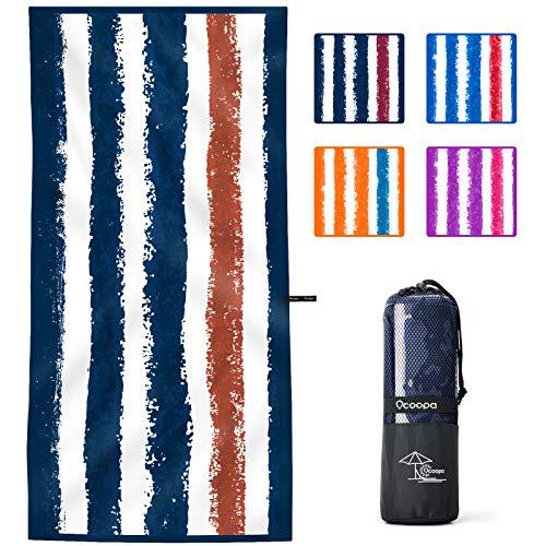 OCOOPA Toalla de playa de microfibra, de secado rápido, de gran tamaño 71x34 pulgadas, extra grande 82x 57 pulgadas, super absorbente, libre de arena de playa y toallas de natación para los hombres, l