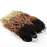 FASHION IDOL Faux Locs Crochet Hair 18 Inch 6 Bundles Natural Brown & Gold & 613 Color Ombre Goddess Locs Crochet Hair Kanekalon Dreadlock Hair Extensions Crochet Twist Braiding Hair (TT4/27/613)