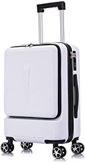 Luggage Small Male Business Front Opening Computer Boarding Leather Suitcase White 24 inch