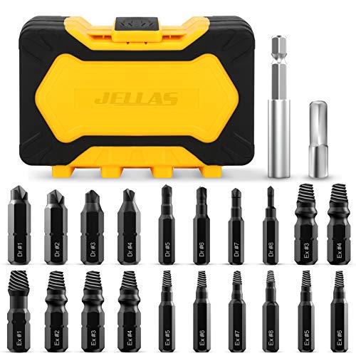 22-teiliges Schraubenausdreher Set, Schraubenentferner Set für beschädigte Schraube 2-12mm-Titan-Antirust-Beschichtung-HSS 4341-Stahl-64-65 HRC Härte, Brenn- und Extraktionsbits separat
