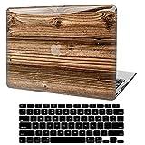 Funda para MacBook Air 13 pulgadas 2020 2019 2018 Release A2337 M1 A2179 A1932, 3D Estuche Rígido de Plástico Madera Lisa + Cubierta para Teclado Compatible con Mac Air 13.3 Retina Display y Touch ID