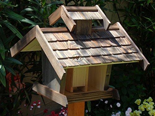 Vogelhaus, Futterhaus,groß, K-BEL-VOVIL4-at001 NEU! PREMIUM-Qualität,Vogelhaus,MIT großem SILO, Qualität Schreinerware 100% Massivholz - VOGELFUTTERHAUS MIT FUTTERSCHACHT-Futtersilo Futterstation Farbe schwarz lasiert, anthrazit / Holz natur, Ausführung Naturholz MIT TIEFEM WETTERSCHUTZ-DACH für trockenes Futter