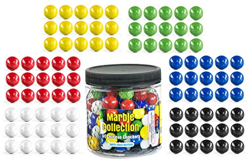 My Toy House Chinese Checkers Glass Marbles. Set of 90, 15 of Each Color. Size 9/16 (14mm), with Practical Container