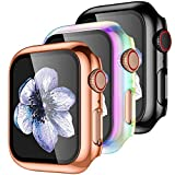 【3 Pack】 Easuny Hard Case Cover Design for Apple Watch Series 3 Series 2 1 38mm with Built-in Glass Screen Protector - Overall Protective Accessories for iWatch Women Men,Black Rose-Gold Colorful