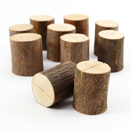 Soporte para Tarjeta marcasitio Fotos Mesero Decoración de mesa de boda - Tocón madera natural (10)