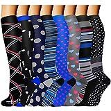 ACTINPUT 8 Pairs Compression Socks Women & Men -Best Medical,Nursing,Hiking,Travel & Flight Socks-Running & Fitness-20-30mmHg (Large/X-Large, Assorted 18)