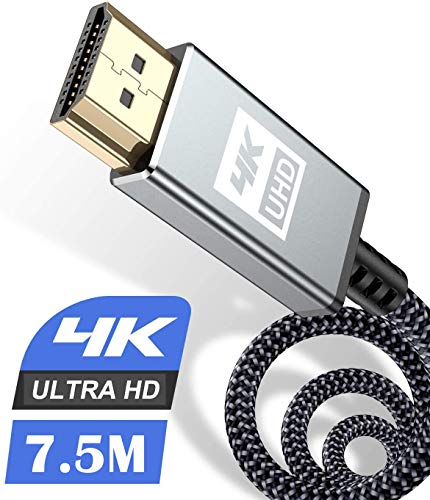 4K HDMI Kabel 7.5Meter,HDMI Kabel 4K @ 60Hz 18Gbps Highspeed HDMI 2,0 Kabel Nylon Geflecht, vergoldete Anschlüsse mit Ethernet/Audio Rückkanal, Kompatibel mit Video 4K UHD 2160p, HD 1080p-Grau