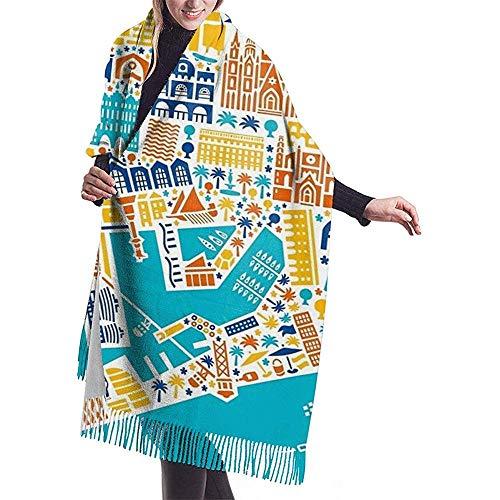 Barcelona City Map Poster heren en dames Winter Long Cashmere Scarf sjaal