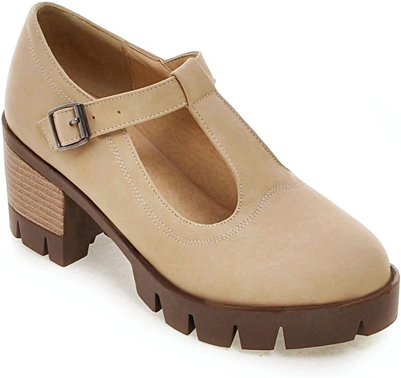 Lucksender Womens Platform T-Strap Buckle Chunky Heel Pumps shoes