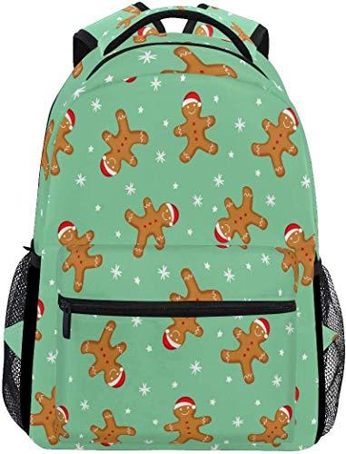 Lebkuchenmann Schulrucksack wasserdichte Schultertasche Bookbag, Snow Green Laptoptasche Casual Day Pack Outdoor-Reise-Sporttaschen