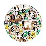 掛け時計 淡褐色のモルモットと雛菊 大文字 連続秒針 静音 壁掛け時計 置き時計 直径25cm