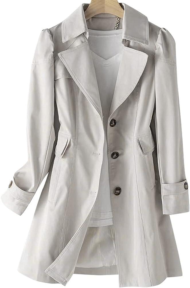 IDEALSANXUN Womens Casual Virginia Limited price Beach Mall Single Breasted Trench Coat Jacke Midi