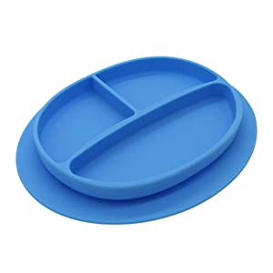 Silicone Suction Plate for Babies–Colorful Divided Baby and Toddler Dinner Plate–Food-Safe, Non-Toxic, and BPA-Free Children's Dish with Bottom Grip–Dishwasher Safe (Blue Color)