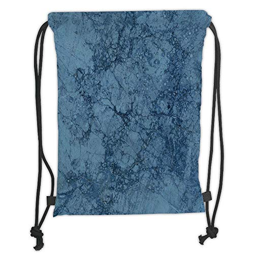Fevthmii Drawstring Backpacks Bags,Marble,Abstract Crack Pattern with Hazy Sketchy Effects Artistic Kitsch Design,Slate and Light Blue Soft Satin,5 Liter Capacity,Adjustable String Closure,