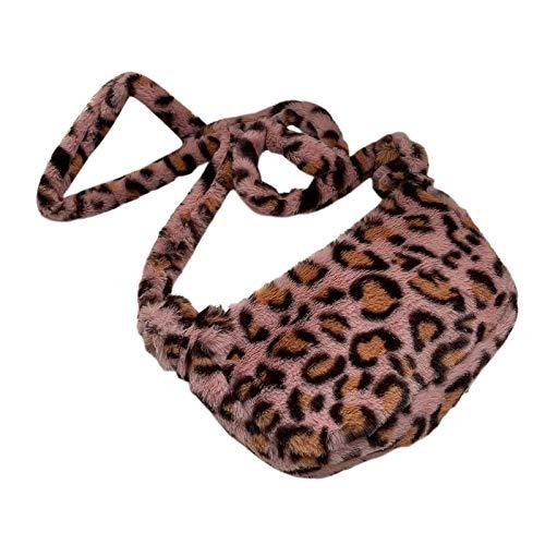 FITYLE Damen Mode Leopard Bedruckt Faux Fell Cross-Body-Tasche Eimer Tasche plüsch umhängetasche Tote - Rosa