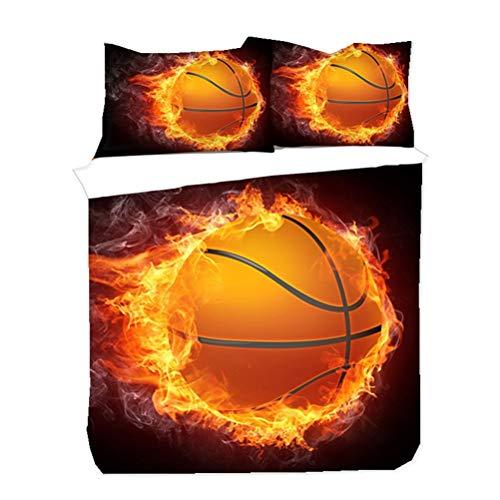 WENYA Teens Boy Bedding Set Sport Style 3D Basketball Football Flame Printed Duvet cover and Pillowcase Zipper Closure Microfiber Blue Black Orange Green (Black and Orange,135x200 cm)
