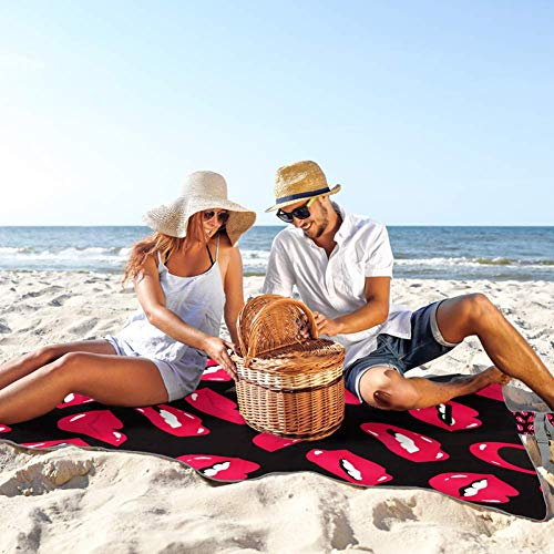 Large Picnic & Outdoor Blanket Mouth And Lipstick Dual Layers for Outdoor Water-Resistant Handy Mat Tote Great for Camping on The Beach Grass Waterproof Sandproof 57x59 in