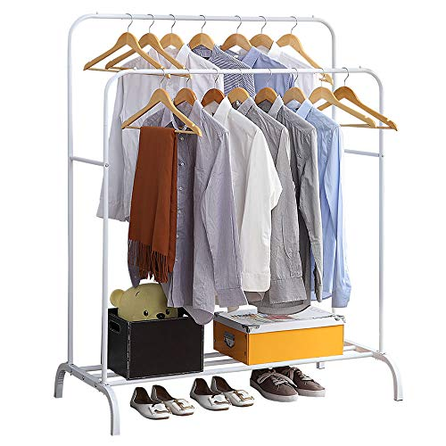 Clothing Double Rod Garment Rack with Shelves, Metal Hang Dry Clothes Rail for Hanging Clothes,with Top Rod Organizer Shirt and Lower Storage Shelf for Boxes Shoes Boots,White