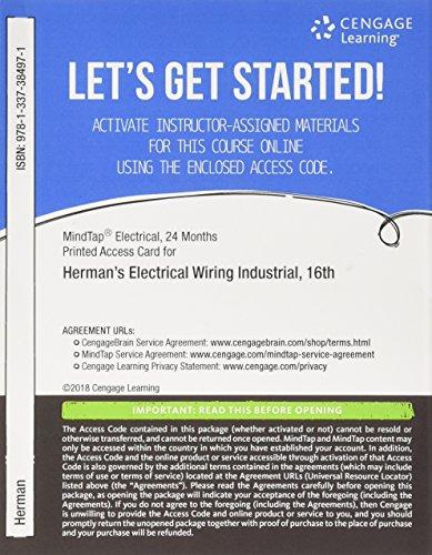 MindTap Electrical, 4 terms (24 months) Printed Access Card for Herman's Electrical Wiring Industrial, 16th