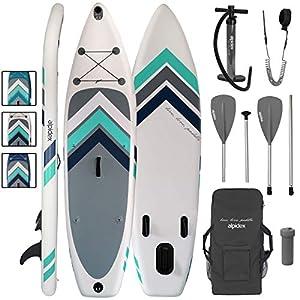 immagine di ALPIDEX Stand Up Paddle Gonfiabile 305 x 76 x 15 cm ISUP Portata Massima 110 kg Tavola SUP Leggero Stabile Set Completo, Colore:Bianco