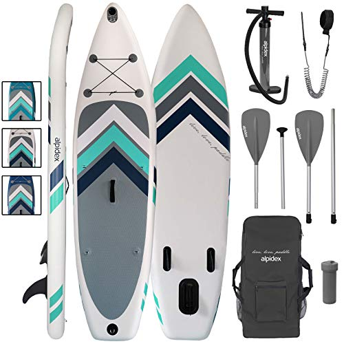ALPIDEX Stand Up Paddle Set SUP 305 x 76 x 15 cm Belastbar bis 110 kg Aufblasbar Stabil Leicht Komplett Set Tragetasche Paddel Finnen Luftpumpe Leash Repair Kit, Farbe:White