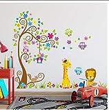 Buzdao Árboles De Gran Tamaño Animales 3D DIY Colorido Búho Pegatinas De Pared Calcomanías De Pared Adhesivo para Niños Habitación De Bebé Papel Tapiz De Decoración del Hogar Mural