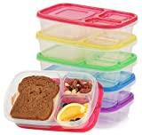 Qualitas Products Premium Kids Bento Boxes - 3 Compartments, 5 Bento Box Microwave Safe Lunch &...