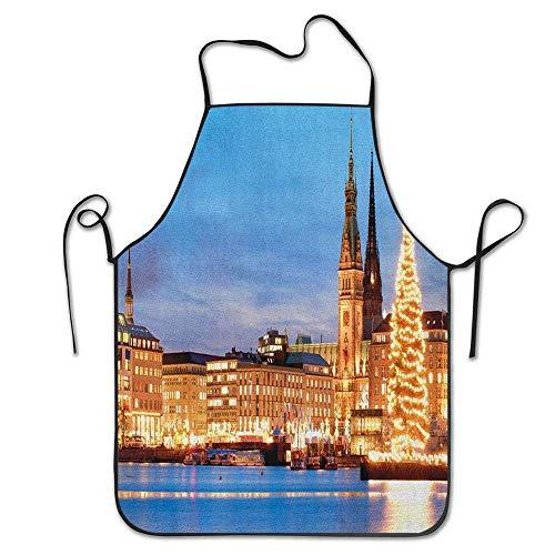 Not Applicable Hamburg Deutschland Altes Rathaus mit Weihnachtsbaum Historische Architektur Schürze Unisex Küche Latzhals zum Kochen Gartenarbeit, Erwachsenengröße
