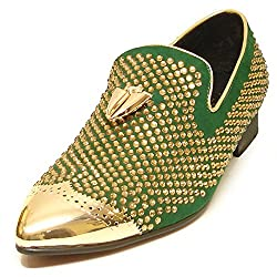 Green with Gold Rhinestones Metal Tip and Metal Tassel