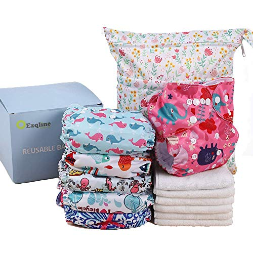 Reusable Baby Cloth Diapers Exqline Washable Pocket Nappies Adjustable Diapers for Baby Girls and Boys, 6 Pack + 6 Inserts with 1 Wet Bag