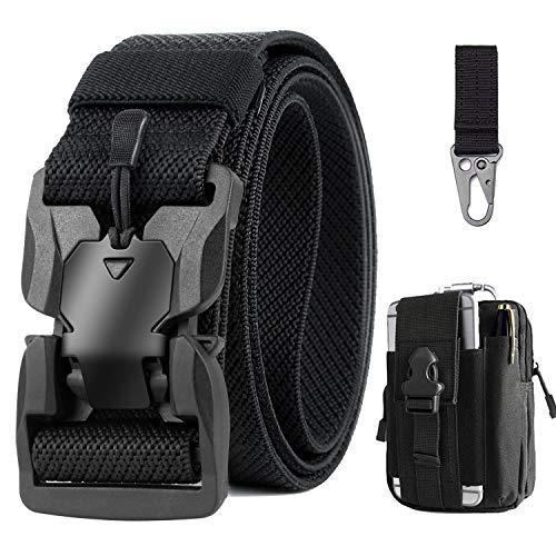 Bestkee – Cinturón táctico para hombre, 1,5 pulgadas, cinturón de alto rendimiento, cinturón de nailon de cierre rápido, hebilla de metal, regalo con bolsa táctica Molle y ganchos Negro Talla única