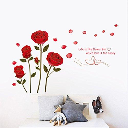 Qianxing abnehmbares wiederverwandbares schöne entspannte Landschaft Wandbild Wallsticker Blumen und Baum Serie Wandtattoo Aufkleber für Sofa und Fernsehen im Wohnzimmer Deko Wandpapier(rote Rosen)(120*75)
