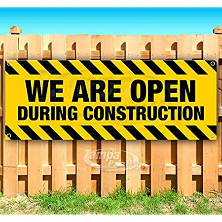 CGSignLab Open During Construction Chalk Corner Heavy-Duty Outdoor Vinyl Banner 8x2